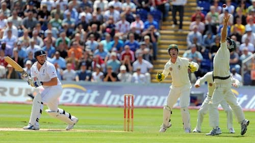 Simon Katich fails to take a catch off Andrew Flintoff on the final day of the first Ashes Test in Cardiff. (AFP Photo)