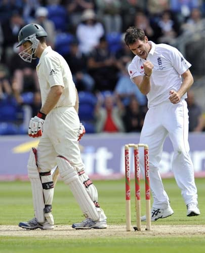 James Anderson celebrates dismissing Simon Katich on the third day of the first Ashes Test in Cardiff. (AFP Photo)