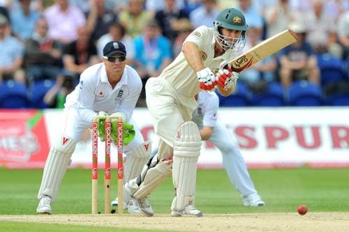 Simon Katich scores runs during the third day of the first Ashes Test against England in Cardiff. (AFP Photo)