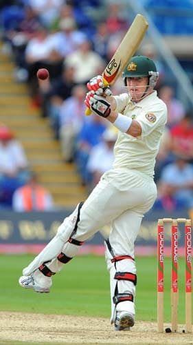 Brad Haddin bats on the fourth day of the first Ashes Test in Cardiff. (AFP Photo)