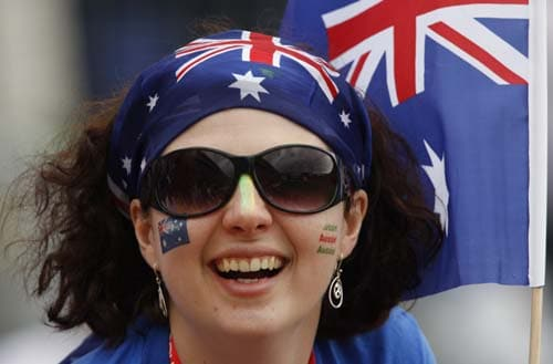 An Australian supporter is seen as the team as Australia plays agiants England on the fourth day of the first Ashes Test in Cardiff. (AP Photo)
