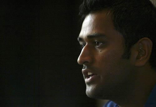 India captain M.S. Dhoni addresss the media before leaving for the Asia Cup in Pakistan.