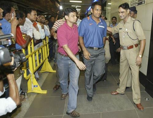 India captain M.S. Dhoni arrives at the Mumbai airport.