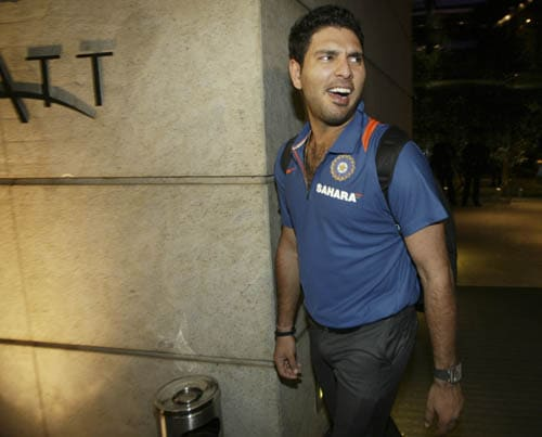 Yuvraj Singh leaves the team hotel in Mumbai before the Indian team's departure for Pakistan to play the Asia Cup.