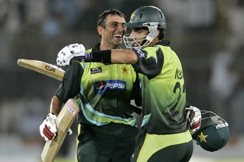 Pakistan captain Misbah-ul Haq hugs Younis Khan after their eight wicket win over India.