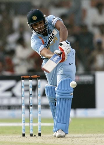 Rohit Sharma plays a shot off his legs against Pakistan.