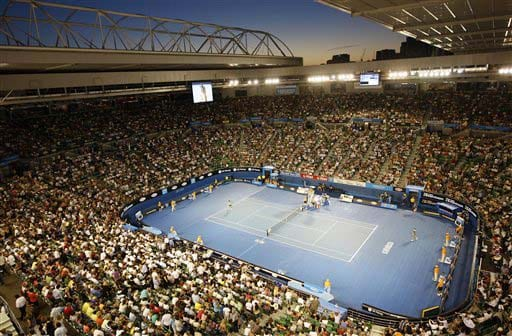 General view of the Rod Laver Arena as Australia's Casey Dellacqua plays Daniela Hantuchova of Slovakia during a women's singles match at the Australian Open in Melbourne on Monday. (AP Photo)