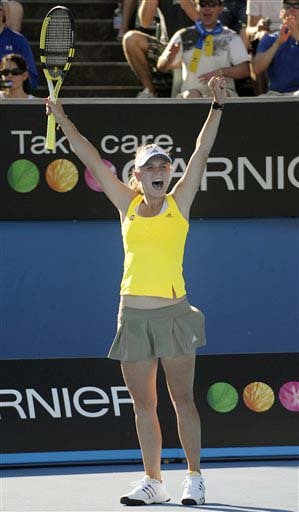 Denmark's Caroline Wozniacki reacts after beating Israel's Shahar Peer during their women's singles match at the Australian Open in Melbourne on Monday. (AP Photo)