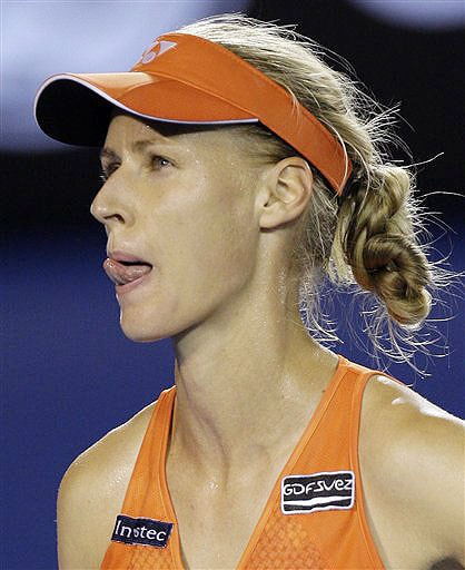 Russia's Elena Dementieva reacts as she plays Serena Williams of the United States during their women's singles semifinal at the Australian Open in Melbourne.