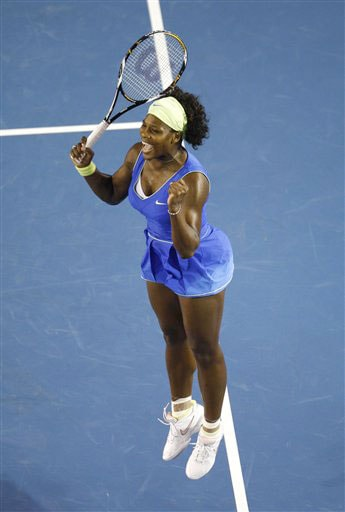 Serena Williams jumps after winning the women's singles semifinal against Elena Dementieva at the Australian Open in Melbourne.