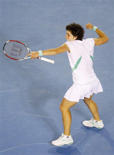 Spain's Carla Suarez Navarro celebrates after beating Venus Williams of the United States in a women's singles match at the Australian Open in Melbourne on Thursday. (AP Photo)