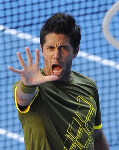 Spain's Fernando Verdasco reacts after winning over Britain's Andy Murray during their men's singles match at the Australia Open in Melbourne on Monday. (AP Photo)