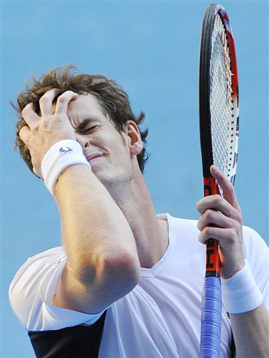 Britain's Andy Murray reacts after losing a point as he plays Spain's Fernando Verdasco during their men's singles match at the Australian Open in Melbourne on Monday. (AP Photo)