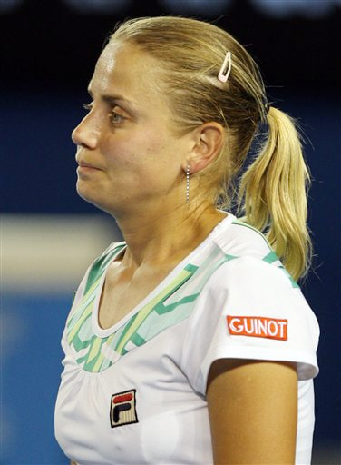 Australia's Jelena Dokic reacts as she plays Russia's Dinara Safina in their women's singles match at the Australian Open in Melbourne on Tuesday. (AP Photo)