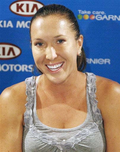 Serbia's Jelena Jankovic smiles during a press conference at the Australian Open in Melbourne on Saturday. (AP Photo)