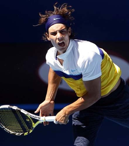 Spain's Rafael Nadal serves during a training session for the Australian Open in Melbourne on Sunday. (AP Photo)