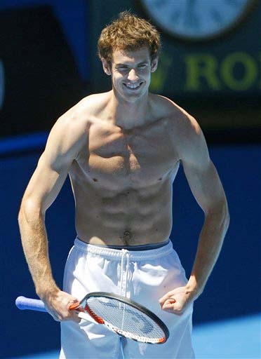 Britain's Andy Murray strikes a pose during a training session for the Australian Open in Melbourne on Sunday. (AP Photo)