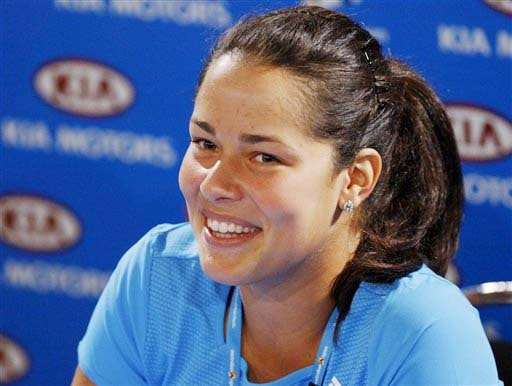 Serbia's Ana Ivanovic smiles during a press conference at the Australian Open in Melbourne on Saturday. (AP Photo)