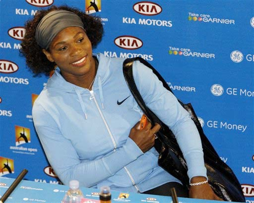 Serena Williams arrives at a press conference at the Australian Open in Melbourne on Saturday. (AP Photo)