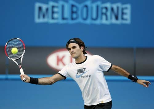 Defending champion Roger Federer of Switzerland in action during a practice session at Rod Laver Arena.