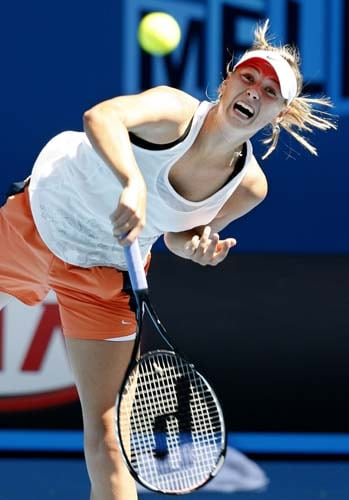 Russia's Maria Sharapova in action during a practice session at Melbourne Park.