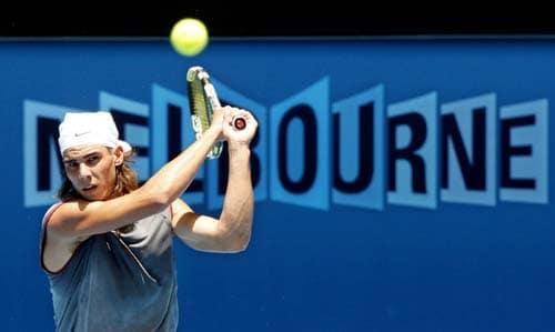 Spain's Rafael Nadal returns a shot during a practice session at Melbourne Park.