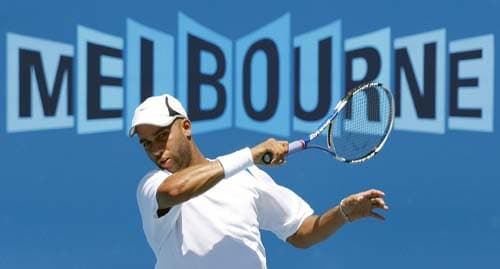 James Blake of the U.S. in action during a practice session at Melbourne Park.