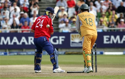 England's Kevin Pietersen, left, looks back after he was bowled by Australia's Nathan Braken, not seen, during their World Twenty 20 cricket Championships at Newlands in Cape Town, South Africa, Friday, Sept. 14, 2007.
