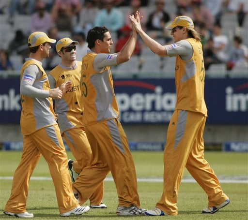 Australia's Mitchell Johnson, second right, celebrates with teammates after dismissing England's Matt Prior, unseen, during their Twenty20 World Championship cricket match at Newlands in Cape Town, South Africa, Friday, Sep. 14, 2007.