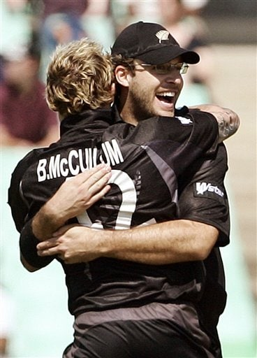 New Zealand's Daniel Vettori, right and Brendon McCullum, celebrate their team's victory over England during their Twenty20 World Championship Cricket match in Durban, South Africa, Tuesday, Sept. 18, 2007.