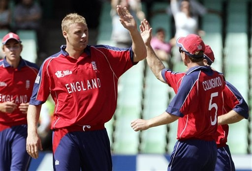 England's Andrew Flintoff, second from left, celebrates with fellow team members the dismissal of New Zealand's Peter Fulton during their Twenty20 World Championship Cricket match in Durban, South Africa, Tuesday, Sept. 18, 2007.