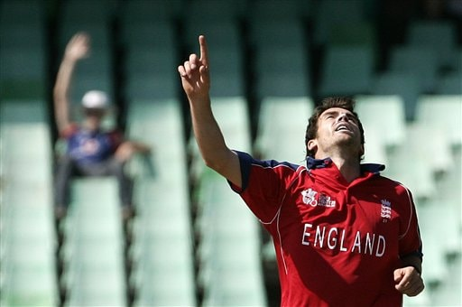 England's James Anderson celebrates the dismissal of New Zealand's Brendon McCullum during their Twenty20 World Championship Cricket match in Durban, South Africa, Tuesday, Sept. 18, 2007.