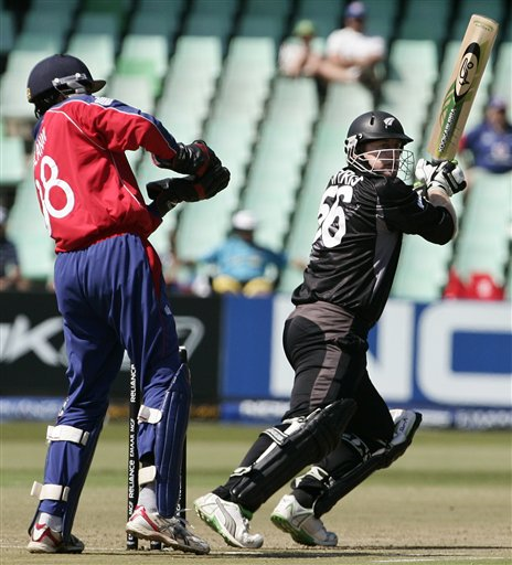 New Zealand's Scott Styris, right, plays a shot against England during their Twenty20 World Championship Cricket match in Durban, South Africa, Tuesday, Sept. 18, 2007.