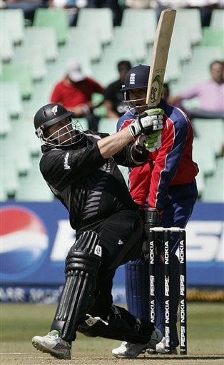 New Zealand's Scott Styris, left, plays a shot against England during their Twenty20 World Championship Cricket match in Durban, South Africa, Tuesday, Sept. 18, 2007.