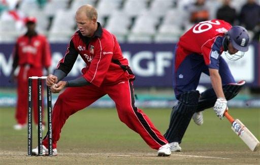 Zimbabwe's Gary Brent l runs out England's batsman Stuart Broad, not seen, during ICC World Twenty 20 cricket Championships at Newlands in Cape Town, South Africa,Thursday, Sept. 13, 2007.