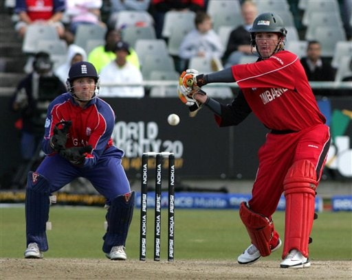 Zimbabwean batsman Brendon Taylor, right, follows his ball as England's Matt Prior, left, looks on during ICC World Twenty 20 cricket Championships at Newlands in Cape Town, South Africa, Thursday, Sept. 13, 2007.