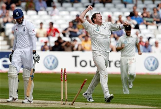Iain O'Brien, 2nd right, celebrates his wicket of England's Michael Vaughan, left, during their 3rd Test match at Trent Bridge Stadium in Nottingham on Thursday June 5, 2008.