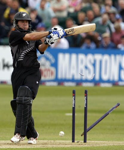 New Zealand's Jamie How is bowled out by England's Stuart Board, unseen, during their third one day international cricket match, at the County Ground, Bristol.