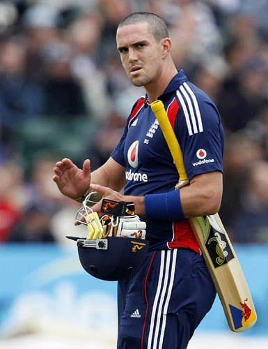 England's Kevin Pietersen walks after being dismissed against New Zealand in the third ODI in Bristol.