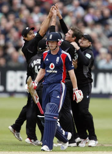 England captain Paul Collingwood walks after being dismissed against New Zealand in the third ODI in Bristol.