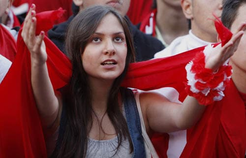 A fan of the Turkish national soccer team is seen during the Euro 2008 soccer match between Turkey and Czech Republic in a public screening of the match in the city center of Frankfurt.