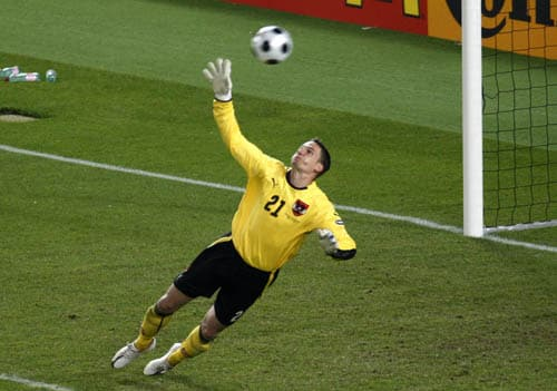 Austria's Juergen Macho fails to save a free kick by Michael Ballack, unseen, during the group B match between Austria and Germany in Vienna, Austria.
