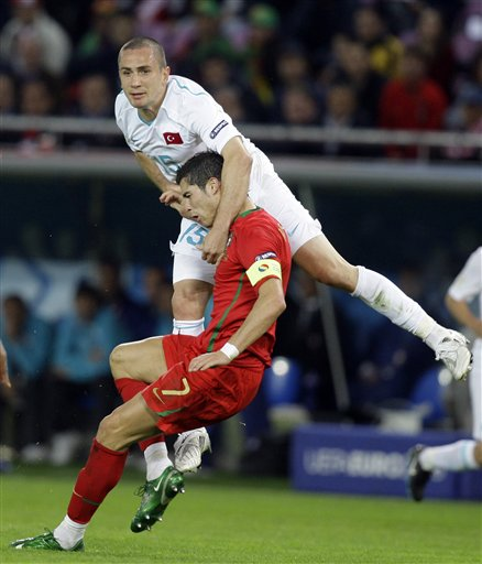 Action from the Portugal vs Turkey game in their European Championship match on Saturday.