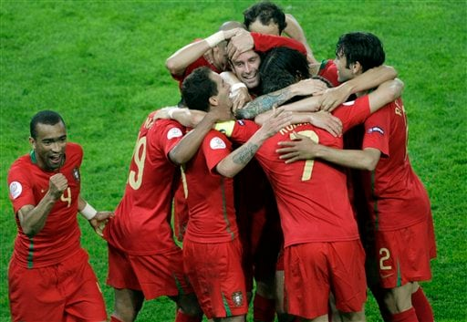 Portugal celebrate their win over Turkey in the European Championship.