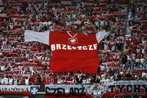 Polish fans display a giant jersey during the group B match between Poland and Croatia in Klagenfurt, Austria.