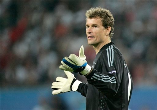 Germany's goalkeeper Jens Lehmann reacts during the group B match between Germany and Poland in Klagenfurt, Austria.