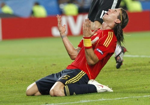 Spain's Sergio Ramos reacts during the Euro 2008 final between Germany and Spain in the Ernst-Happel stadium in Vienna.