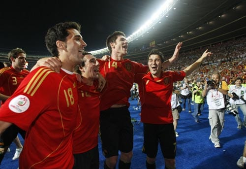 Spain's David Villa, Xabi Alonso, Santi Cazorla and Alvaro Arbeloa, from right, celebrate after winning the Euro 2008 final between Germany and Spain in the Ernst-Happel stadium in Vienna.