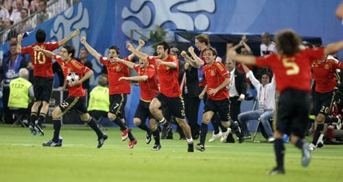 Spanish players celebrate their 1-0 win at the end of the Euro 2008 final between Germany and Spain in the Ernst-Happel stadium in Vienna, Austria.