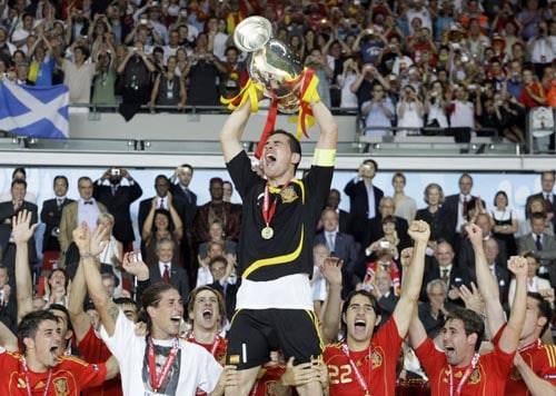 Spain's Iker Casillas lifts the trophy after Spain won the Euro 2008 final between against Germany at the Ernst-Happel stadium in Vienna, Austria.